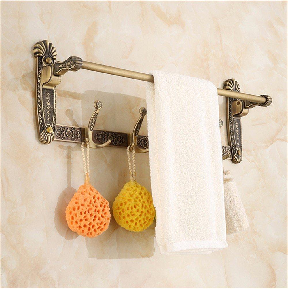 HOMEE European Style Retro Folding Towel Rack Bathroom and Toilet Shelf,C