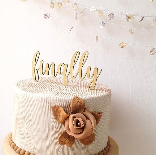 Amazon.com: Finally wedding cake topper, wooden cake topper, simple ...