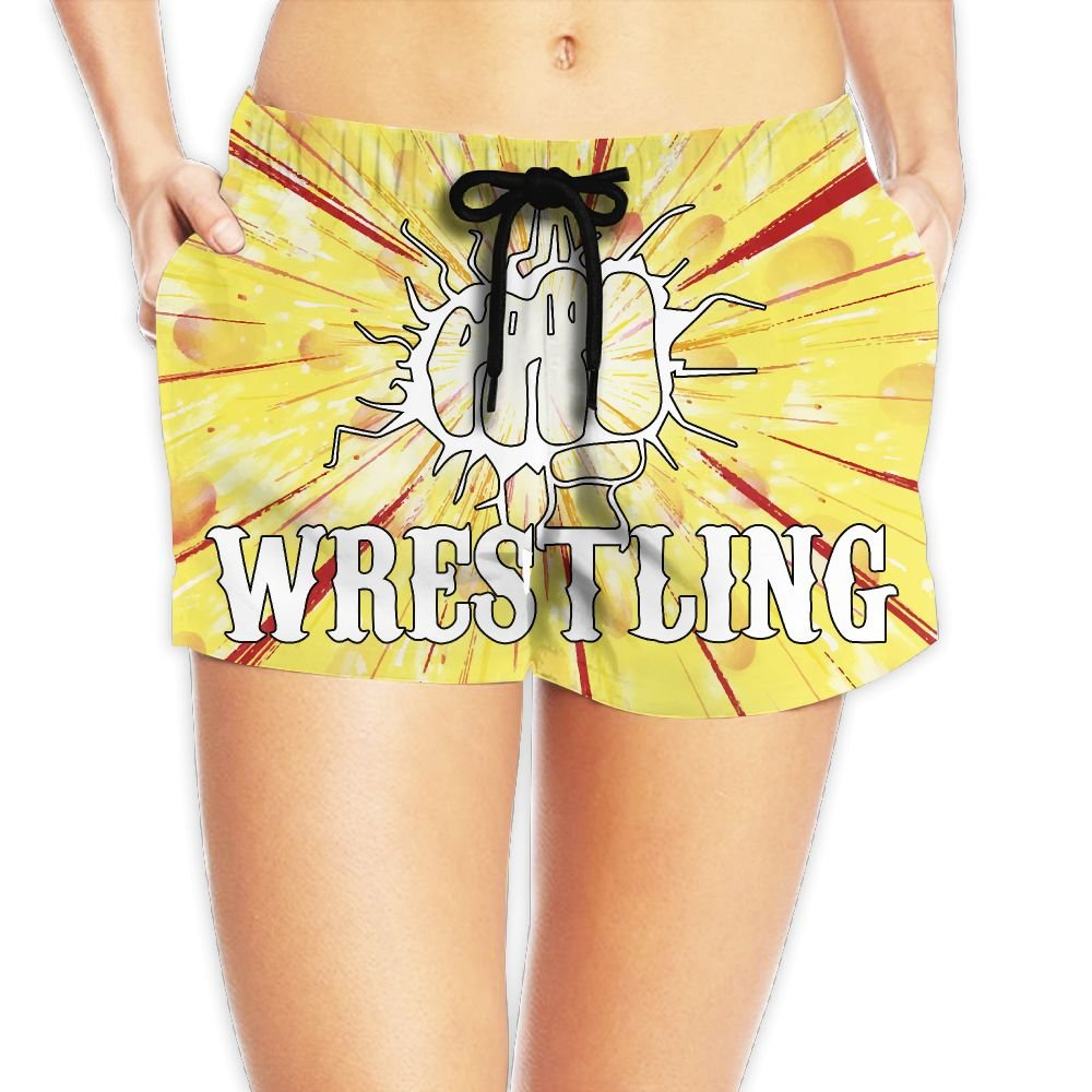 Deear Funny Fist Wrestling Women's Quickly Drying Beach Waist Elastic Shorts Swim Trunk Boardshorts Swimwear With Pocket M