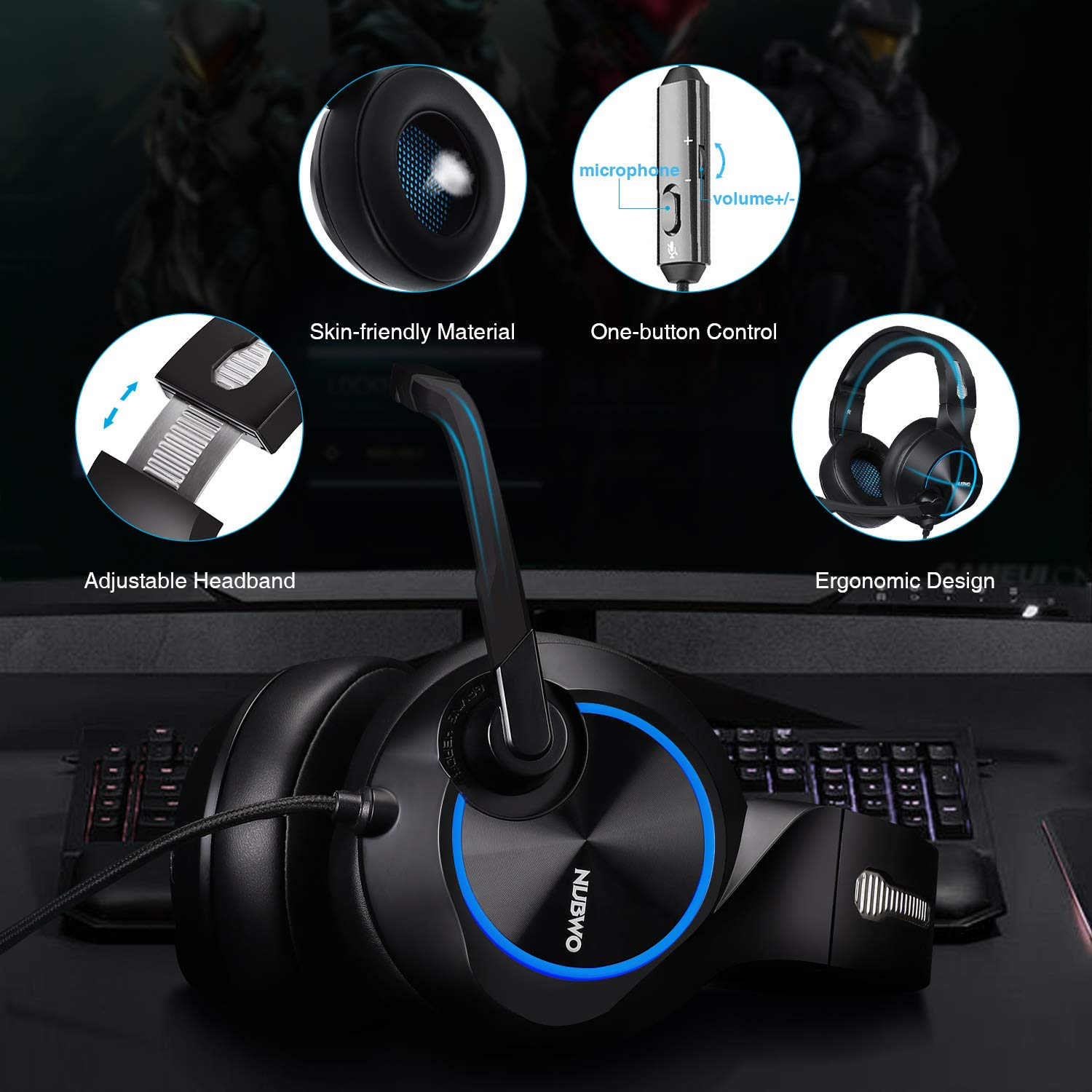 Gaming Headset for Xbox One, PS4, PC, Controller, ARKARTECH Noise Cancelling Over Ear Headphones with Mic, Bass Surround Soft Memory Earmuffs for Computer Laptop Switch Games by ARKARTECH (Image #3)