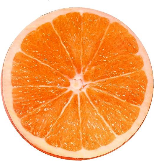 ONEVER Almohada Redonda Suave de Felpa coj/ín del Asiento de dise/ño Naranja Fruta coj/ín del Respaldo para el sof/á Dormitorio decoraci/ón del Coche en casa