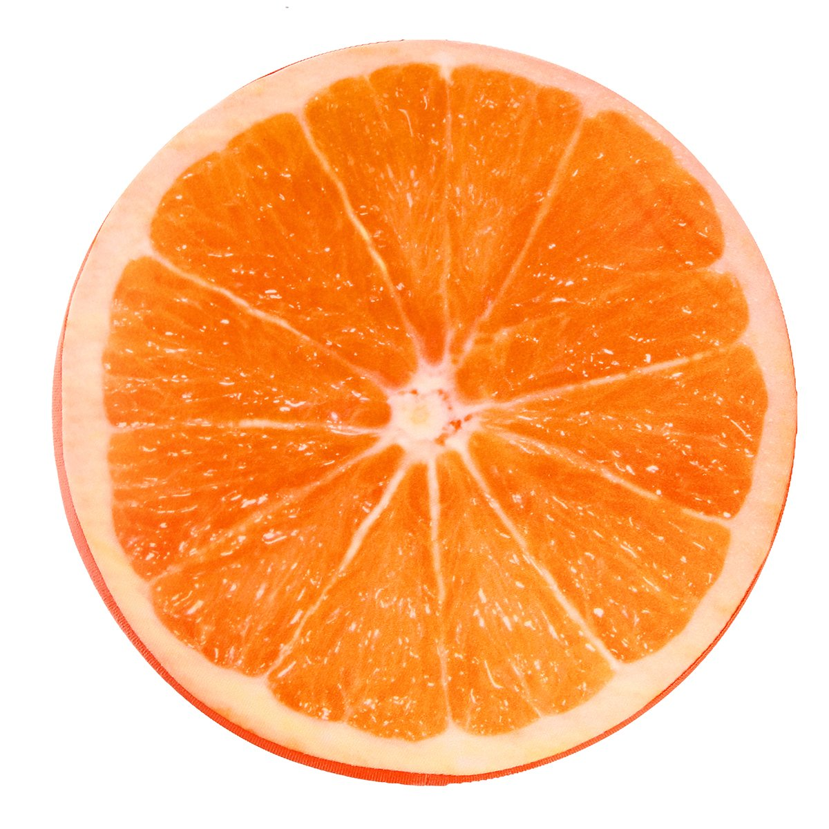 OurLeeme Leggero Portatile Tondo Morbido Cuscino Peluche Frutta Arancione sede del Rilievo Indietro