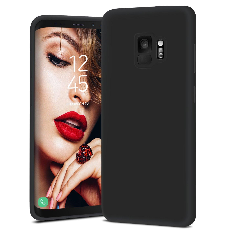 JASBON Coque Samsung Galaxy S9, CoqueSiliconeLiquide Anti-rayure, HousseProtectionSiliconeAnti-choc GelCasepourSamsung Galaxy S9 – Noir