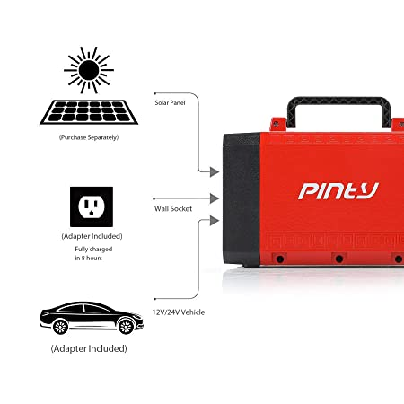 Pinty Portable Uninterrupted Power Supply 500W, UPS Battery Backup, Rechargeable Generator Power Source with AC Inverter, USB, DC 12V Outputs for Outdoors and Indoors 500W, Red