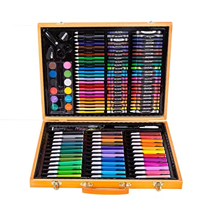 bdbd9f37b Amazon.com: HYNGCHI 150 Pieces Wood Case Art Set Painting & Drawing Set Art  Supplies Pencil Crayons Paper (3 Color Send in Random, 150 Pieces)
