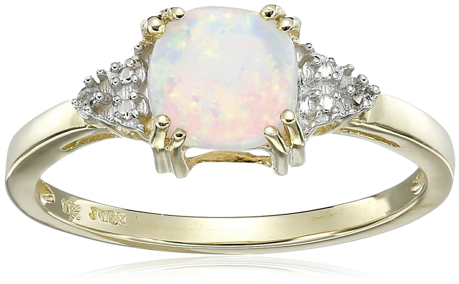 10K Yellow Gold Created Opal Cushion with Diamond October Birthstone Ring, Size 7