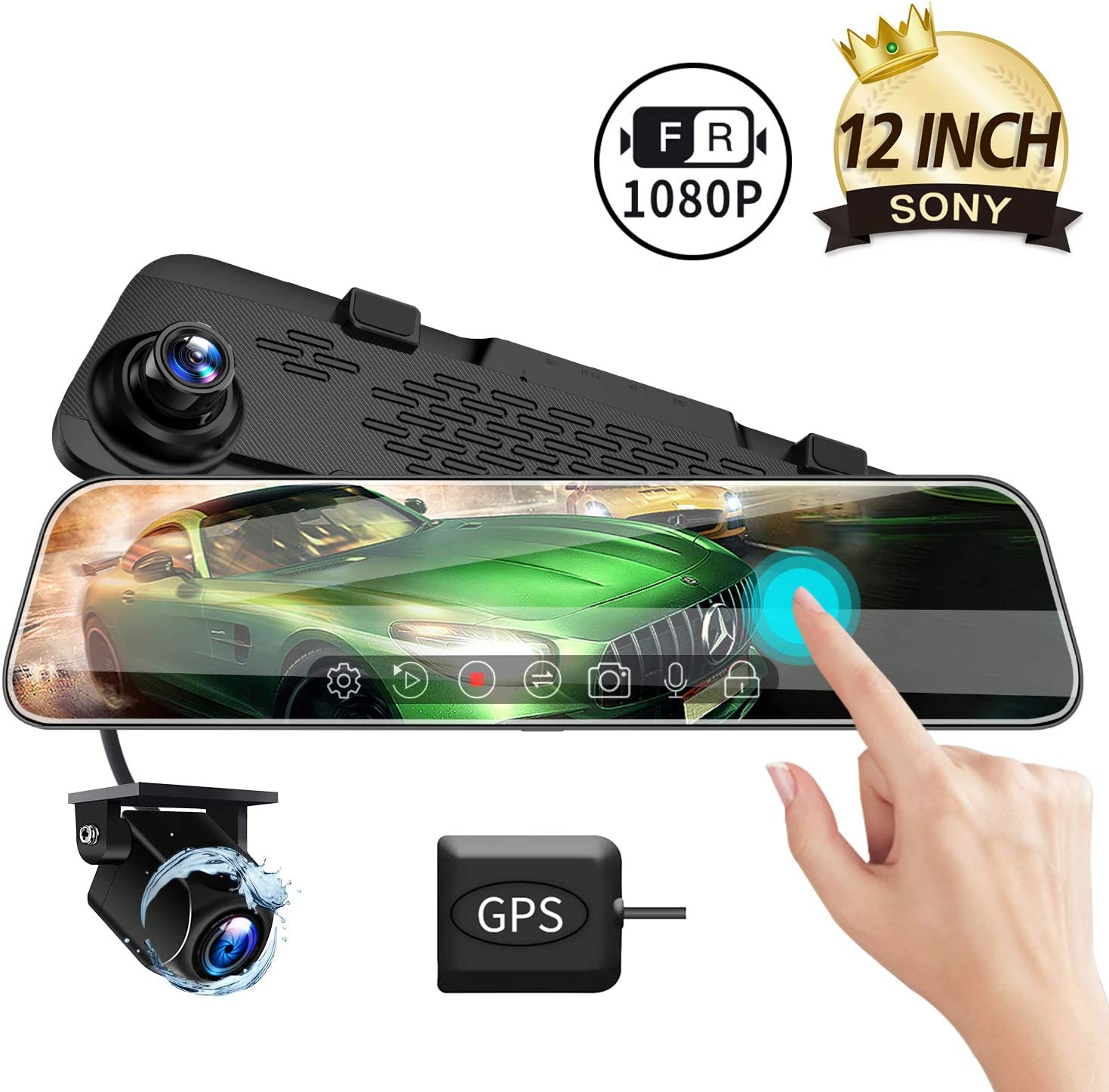Parking Monitor VVCAR Dual 1080P Mirror Dash Cam with 12 IPS Full Touch Screen w//Waterproof Backup Rear View Camera Night Vision Loop Recording