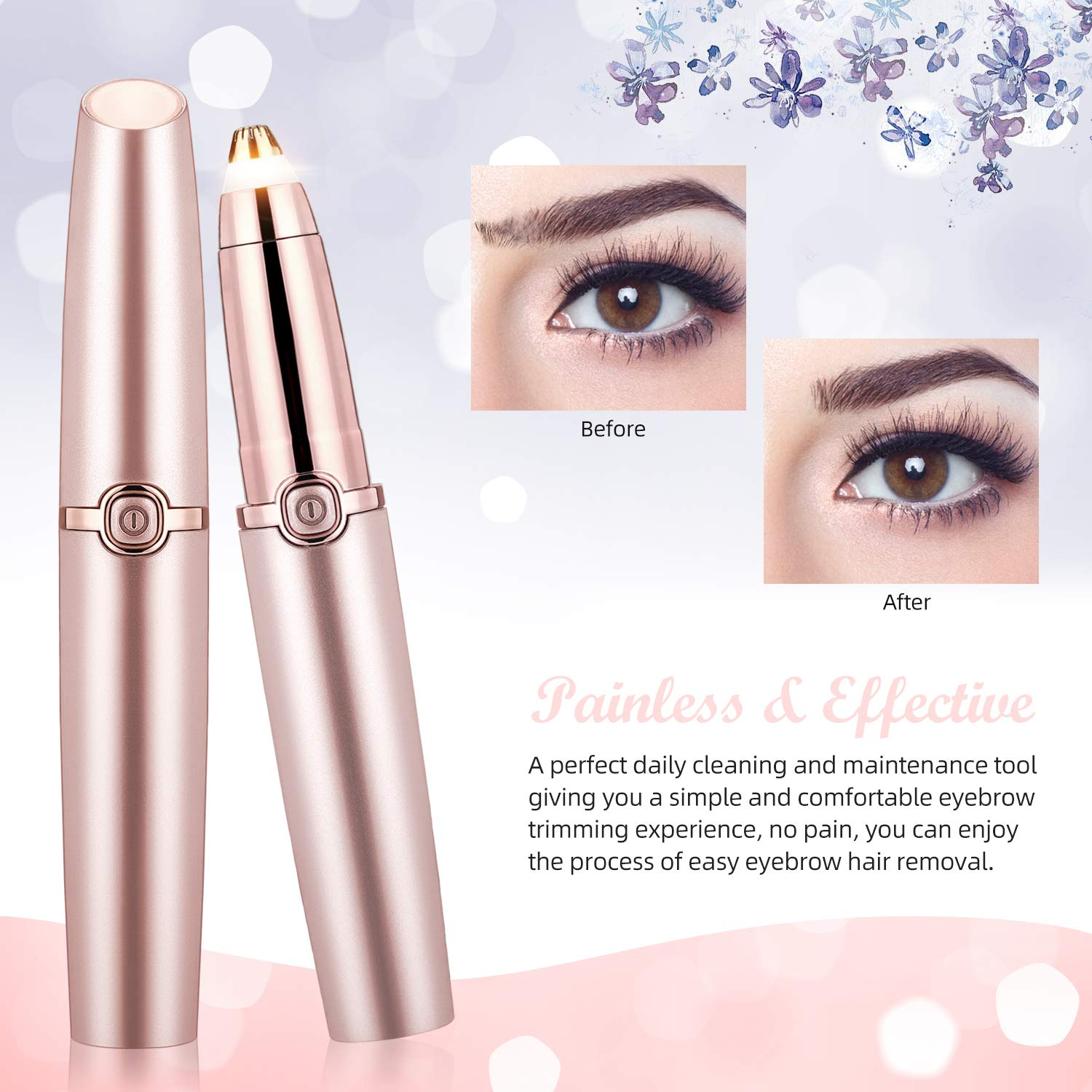 Portable Eyebrow Hair Remover, WLWQ Painless Eyebrow Trimmer for Women, Electric Eyebrow Hair Removal Razor Epilator with LED Light for Peach Fuzz, Eyebrow, Chin, body, USB Rechargeable