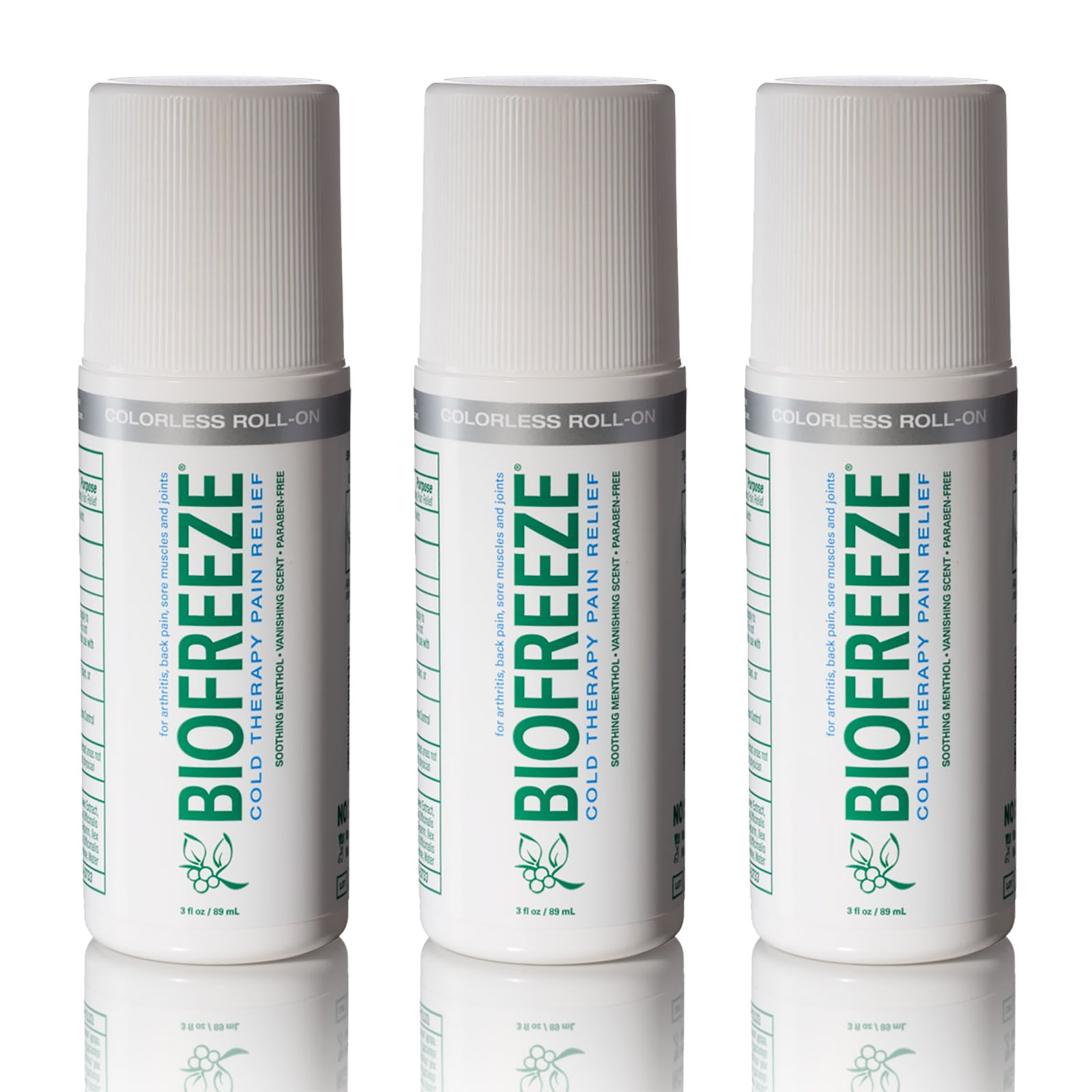 Biofreeze Pain Relief Gel for Arthritis, 3 oz. Rollon Topical Analgesic, Fast Acting and Long Lasting Cooling Pain Reliever Cream for Muscle Pain, Joint Pain, Back Pain,Colorless Formula