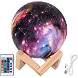 Moon Lamp 3D Print Moon Light with Wooden Stand Rechargeable Moon Lamp Night Light Lamp 16 LED Colors Remote Touch Control Dimmable Decorative Moon Light for Baby Kids Birthday Party (5.9 inch)