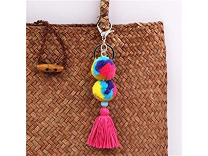 Amazon.com: Yunqir Lightweight Colorful Plush Balls Keyring ...