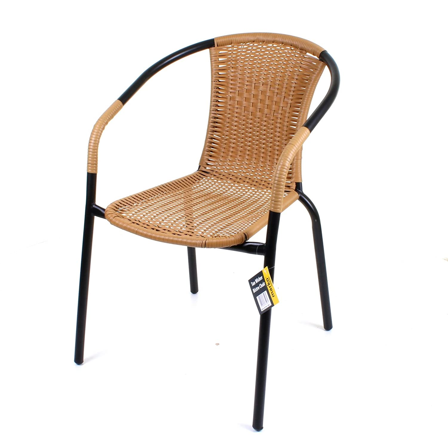 Marko Outdoor Bistro Chair Outdoor Tan Wicker Rattan Woven Seat