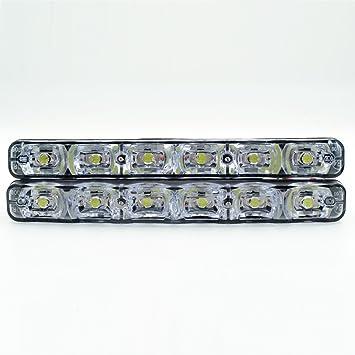 FidgetKute 2 Pcs 6W COB 3 LED White DRL Driving Daytime Running Lamp Light for Auto Car