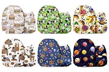 Mama Koala One Size Baby Washable Reusable Pocket Cloth Diapers 6 Pack with 6 One Size Microfiber Inserts Ease Hub