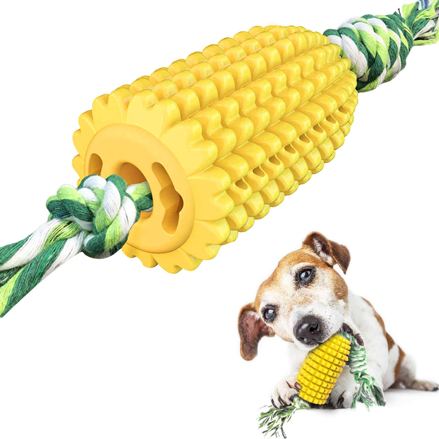 Corn Dog Chew Toys, Puppy Toothbrush Cleaning Stick for Large Medium Small Dogs, Food Grade Pet Toys