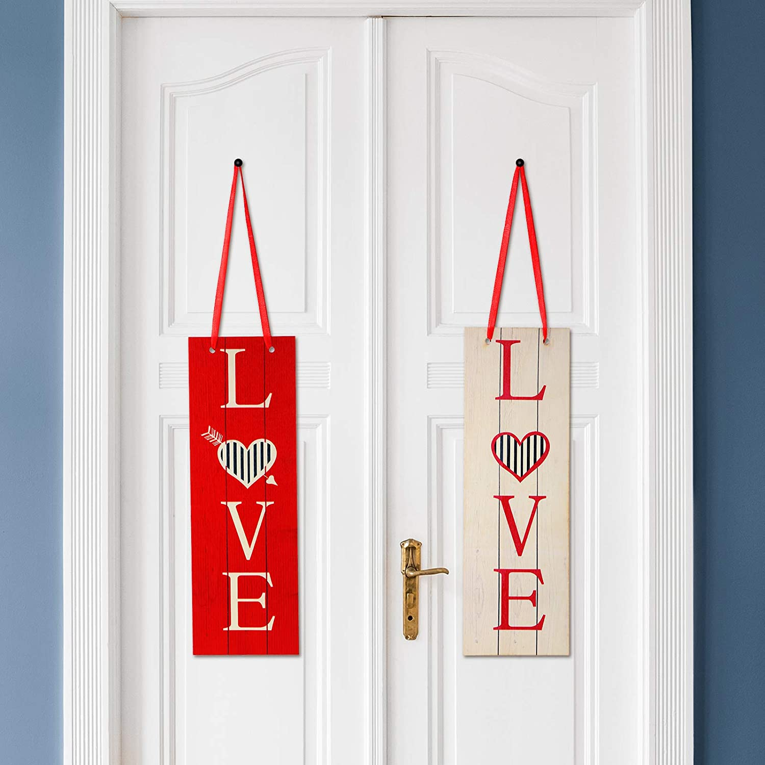 2 Pieces Valentine Sign Love Heart Wooden Sign Vertical Red White Love Letters Door Wall Hanging Sign Plaque for Valentine's Day Wedding Bedroom Living Room Dining Decor, 12 x 6 Inch