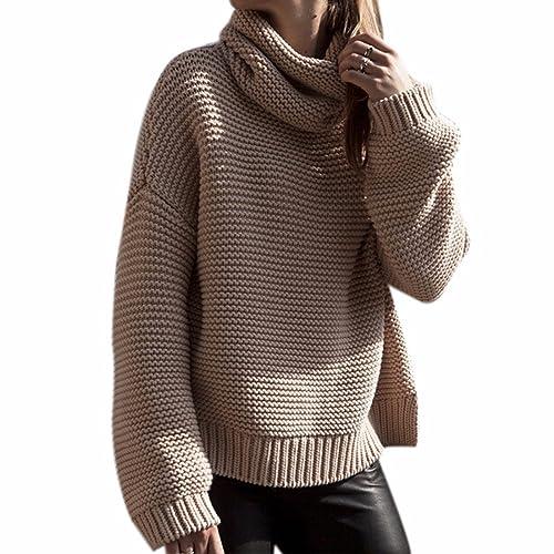 Donne Cachi Coreano Maglione Allentato Collo Alto Pullover Maglieria Outwear Nuovi