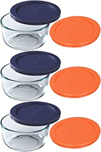 Pyrex Storage 2 Cup Clear Round Dish, Pack of 3 Containers with 2 Color Lids