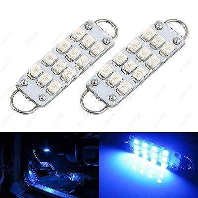 "SAWE - 44mm 12-SMD 3528 Festoon LED Bulbs For Car Side Door Courtesy Rigid Loop 1.73"" LED Light Bulbs 561 562 567 (2 pieces) (Blue): Automotive"