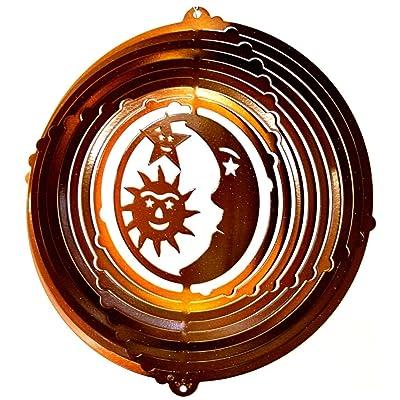 """Stainless Steel Wind Spinner, 12"""" Sun, Moon, Stars, Copper Starlight: Garden & Outdoor"""