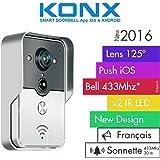 KONX® 2016 Doorbell Interphone Portier Video IP Réseau Wifi RJ45 + Relais porte Synthèse Vocale FR + Sonnette 433Mhz