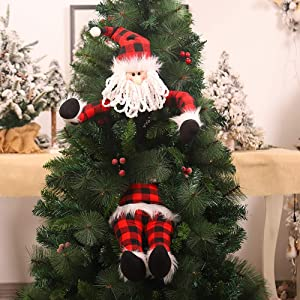 Flyzy Santa Head and Legs for Christmas Decorations Red Plaid Stuffed Santa Head and Legs Stuck in Christmas Tree Christmas Ornament Stuffed for Home Party Fireplace Car Decoration (Santa)