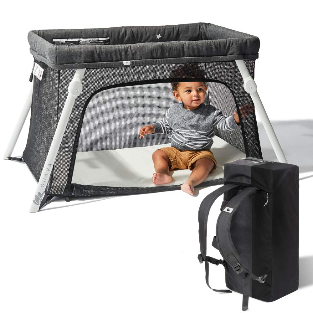 Lotus Travel Crib – Backpack Portable, Lightweight, Easy to Pack Play-Yard with Comfortable Mattress – Certified Baby Safe
