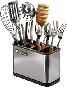 Utensil Holder, Boosiny Sturdy Stainless Steel Weighted Kitchen Base, Rotating Removable Divider, Gripped Insert, Rust Proof and Dishwasher