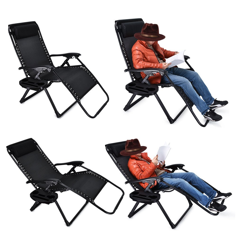 EZcheer Zero Gravity Chair Oversized, 2 Pack Supports up to 430lbs Patio Lounge Chair,XL Folding Portable Office Beach Recliner Chair With Cup Holder by EZcheer