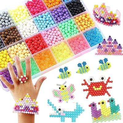 Abalorios Cuentas de Agua 4000 Perlas Kit Abalorios 24 Colors(6 Jewel) Niños DIY Educativos Artesanía Craft Kits: Juguetes y juegos
