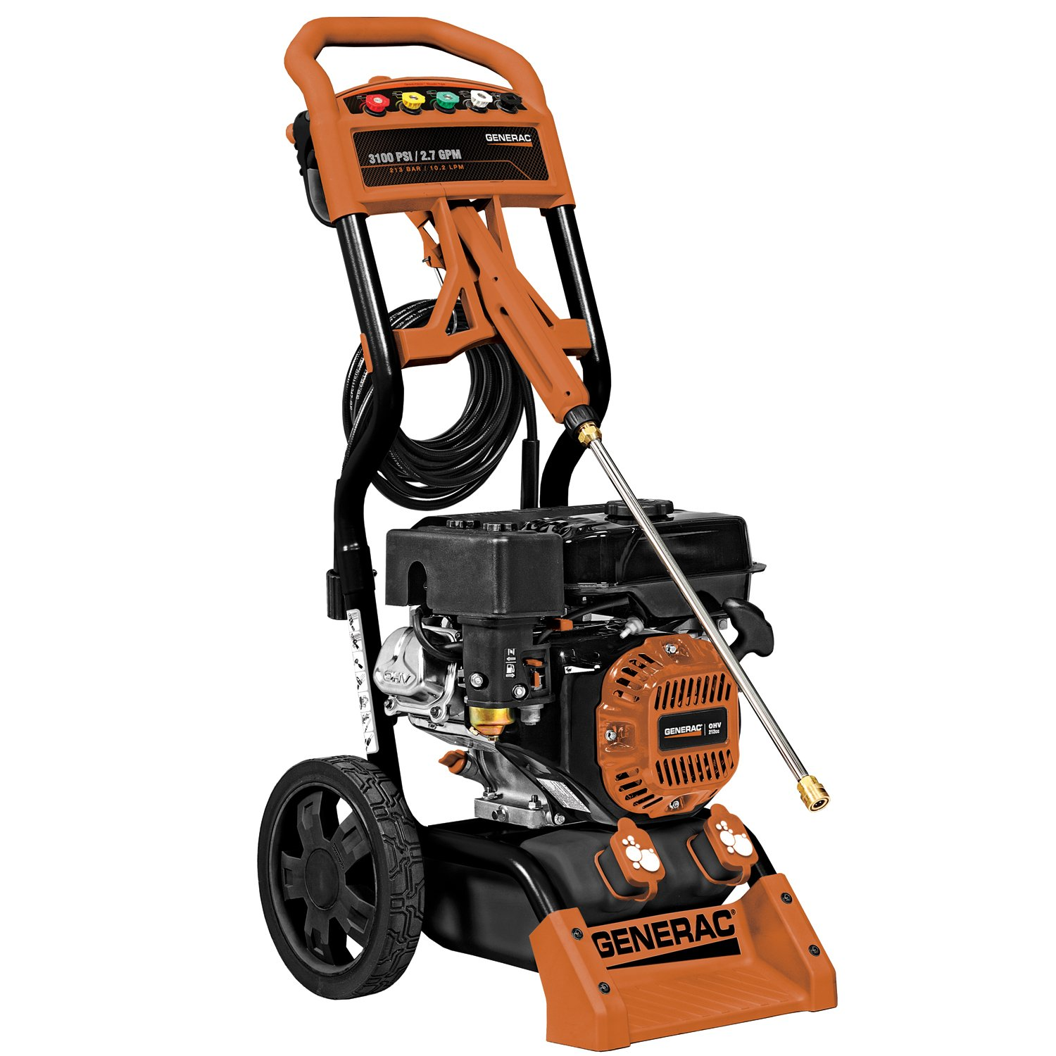 Amazon.com : Generac 6598 3, 100 PSI 2.7 GPM 212cc OHV Gas Powered  Residential Pressure Washer (Discontinued by Manufacturer) : Garden &  Outdoor