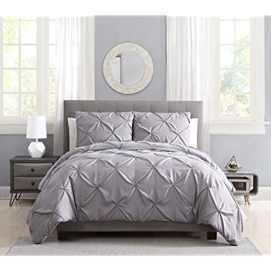 Pinch Pleat Pintuck Duvet Cover Set,3 Pieces Decorative Stylish Brushed Microfiber Bedding Set with Zipper (King Grey)