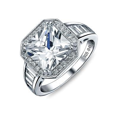 Bling Jewelry Estilo Art Deco 5Ct AAA CZ Baguette Halo Plaza ...