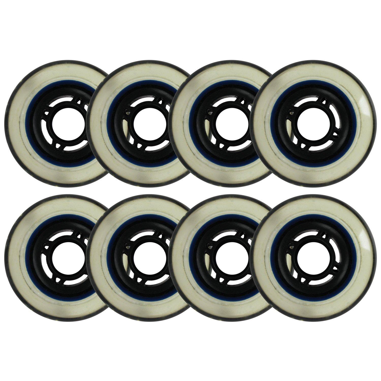 インラインスケート交換用ホイールブラック/クリア76 mm 80 a 4 -スポーク8パック