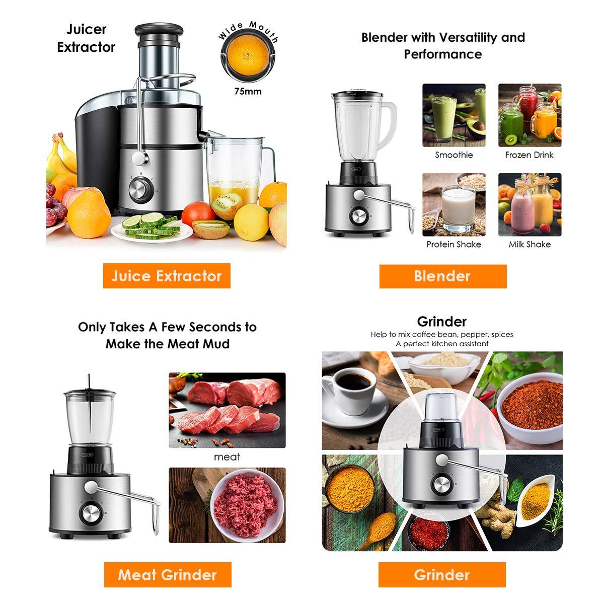 Amazon.com: Costway - Extractor de zumo 5 en 1 de boca ancha ...