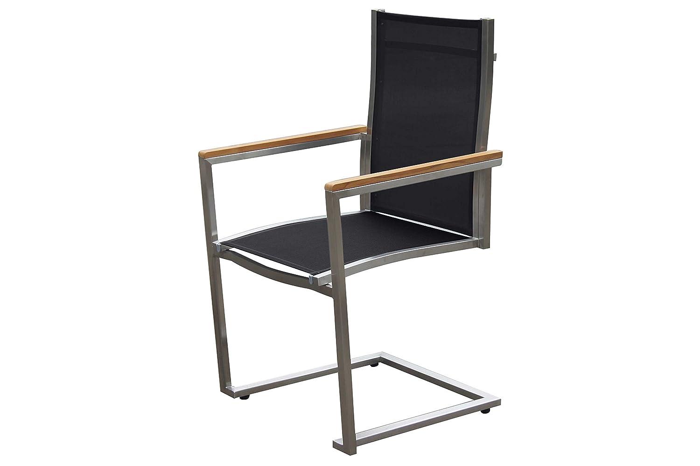 OUTFLEXX exklusiver Freischwinger Sessel in schwarz, aus solidem Edelstahl und hochwertiger Textilene mit Armlehnen aus FSC-Teakholz, 58,5 x 53 x 89 cm, Schwingstuhl, korrosionsbeständig