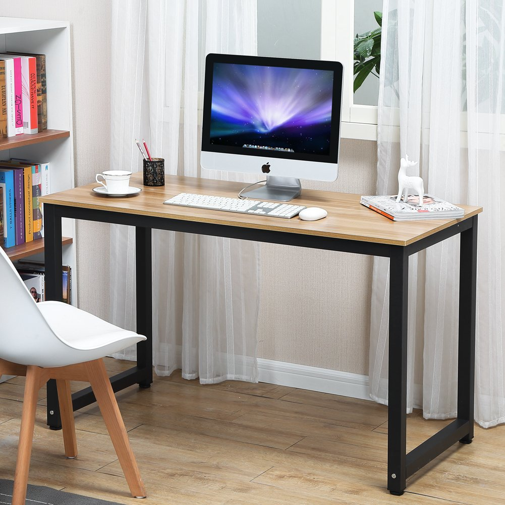 Computer desk 55 large modern simple style sturdy home office desk particleboard study writing table for home office school walnut black leg 55 1 x