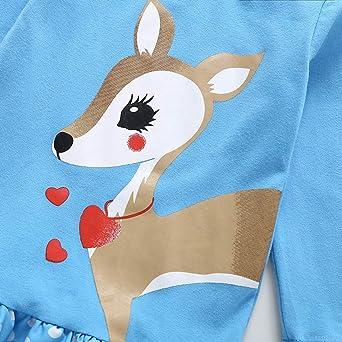 Teen Toddler Kids Baby Girls Dress Cartoon Deerlet Dots Print Dresses Headband Little Princess Long Sleeve Skirt 1-5 Years