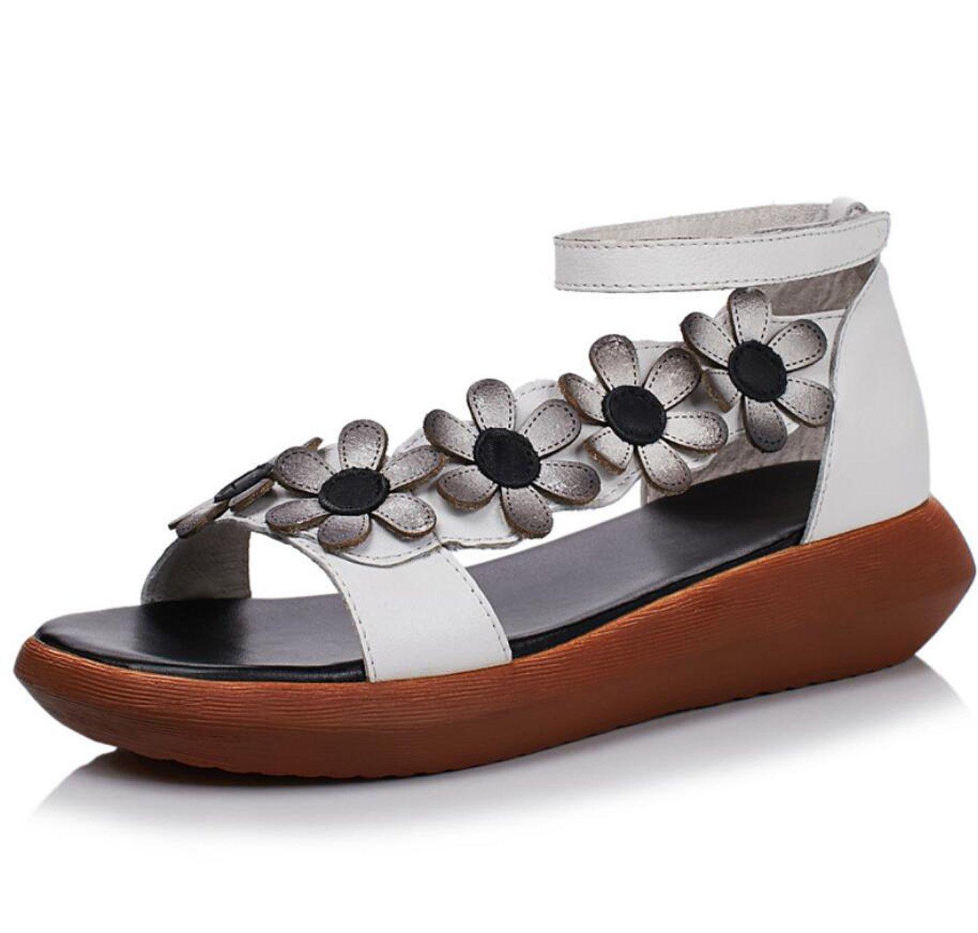 DANDANJIE Sandalen Damen Sommer Neue Mittlere Heels Handgemachte Blume Sandalen Wedges Heel Damen Schuhe (Farbe : Weiszlig;, Grouml;szlig;e : 37)  37 Wei?