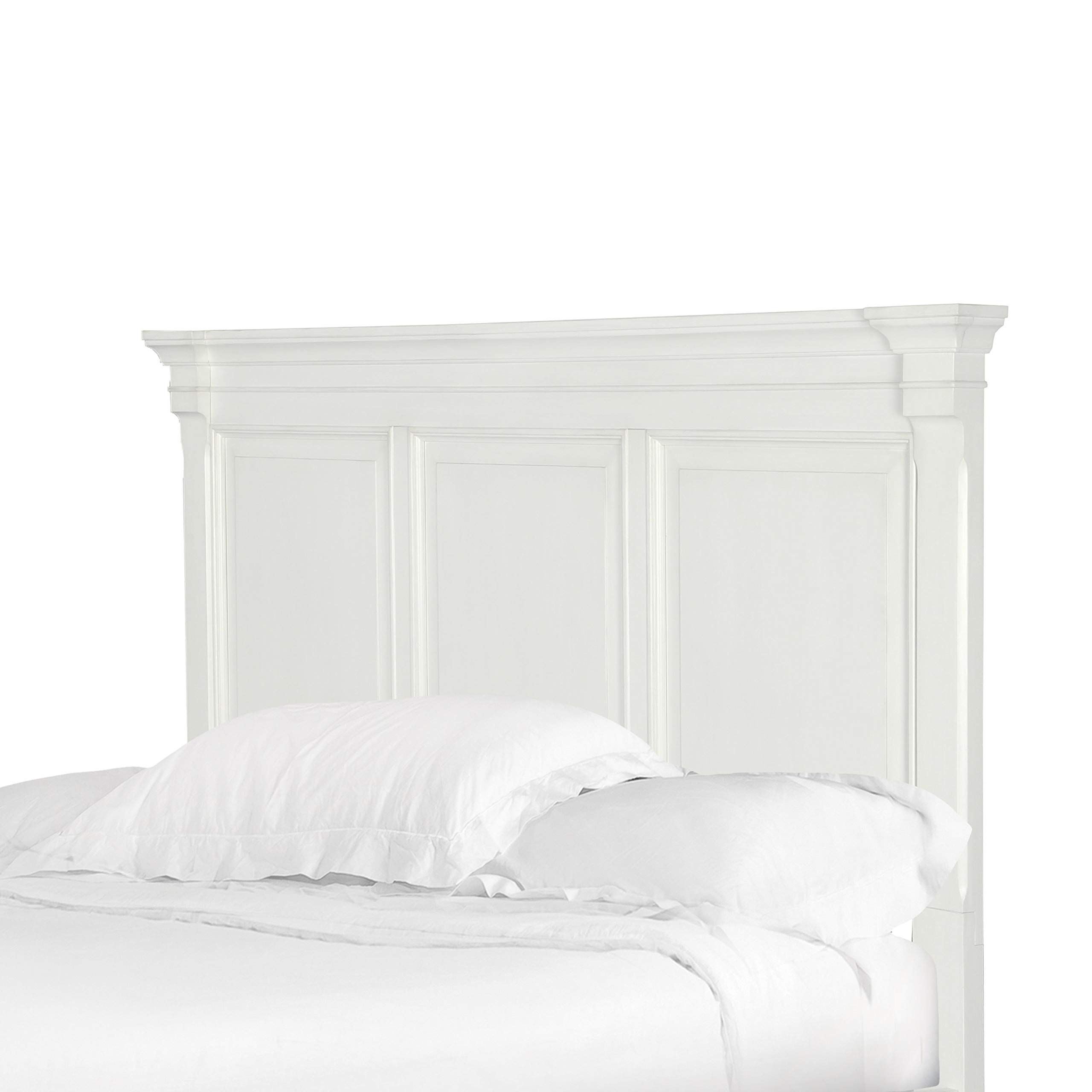 Brookefield Cotton White Queen Panel Headboard Transitional MDF Wood Includes Hardware by Unknown