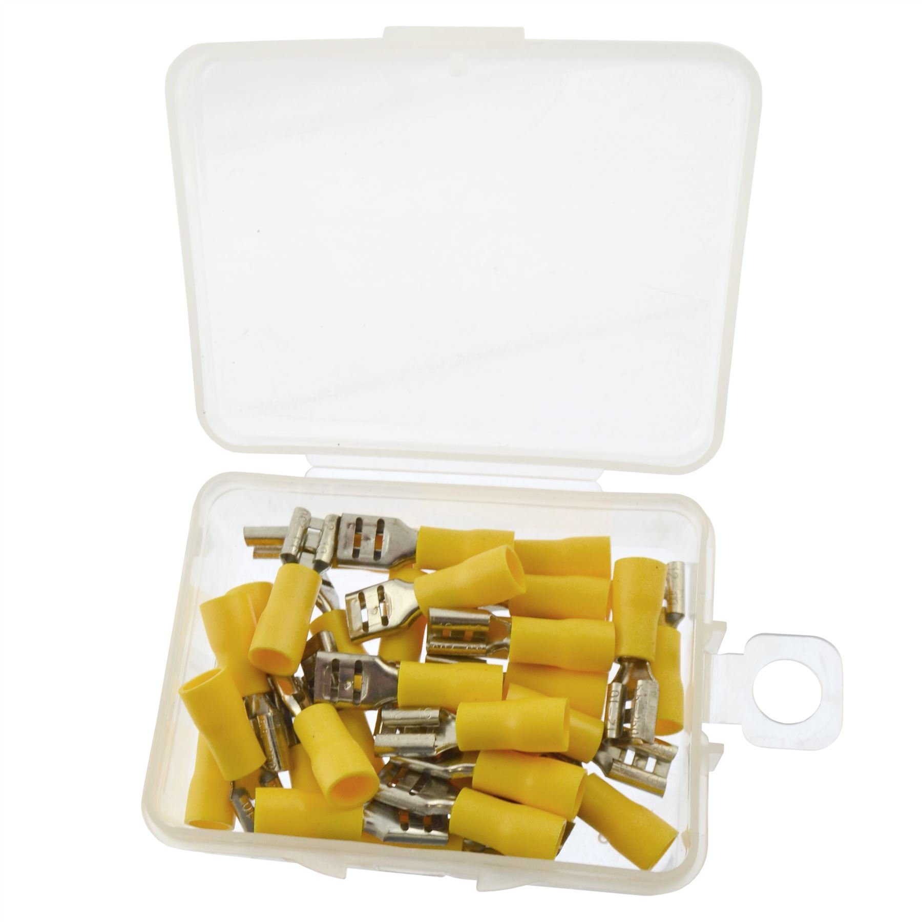 5mm Electrical Wire Yellow Spade Female Terminal Crimps Connectors 30pc AST40