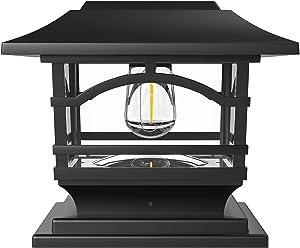 Davinci Lighting Edison Solar Outdoor Post Cap Lights - 4x4 5x5 6x6 - Bright LED Light for Fence Deck Garden or Patio Posts - Slate Black (1 Pack)