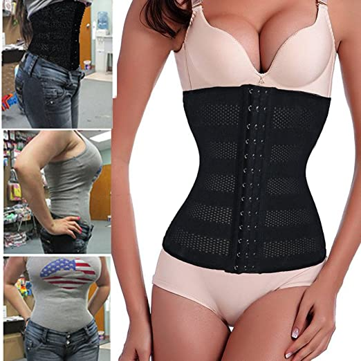 c87ee89a788 Lelinta Latex Running Gym Waist Cincher Trainer Shaper Corset Belt Weight  Loss at Amazon Women s Clothing store