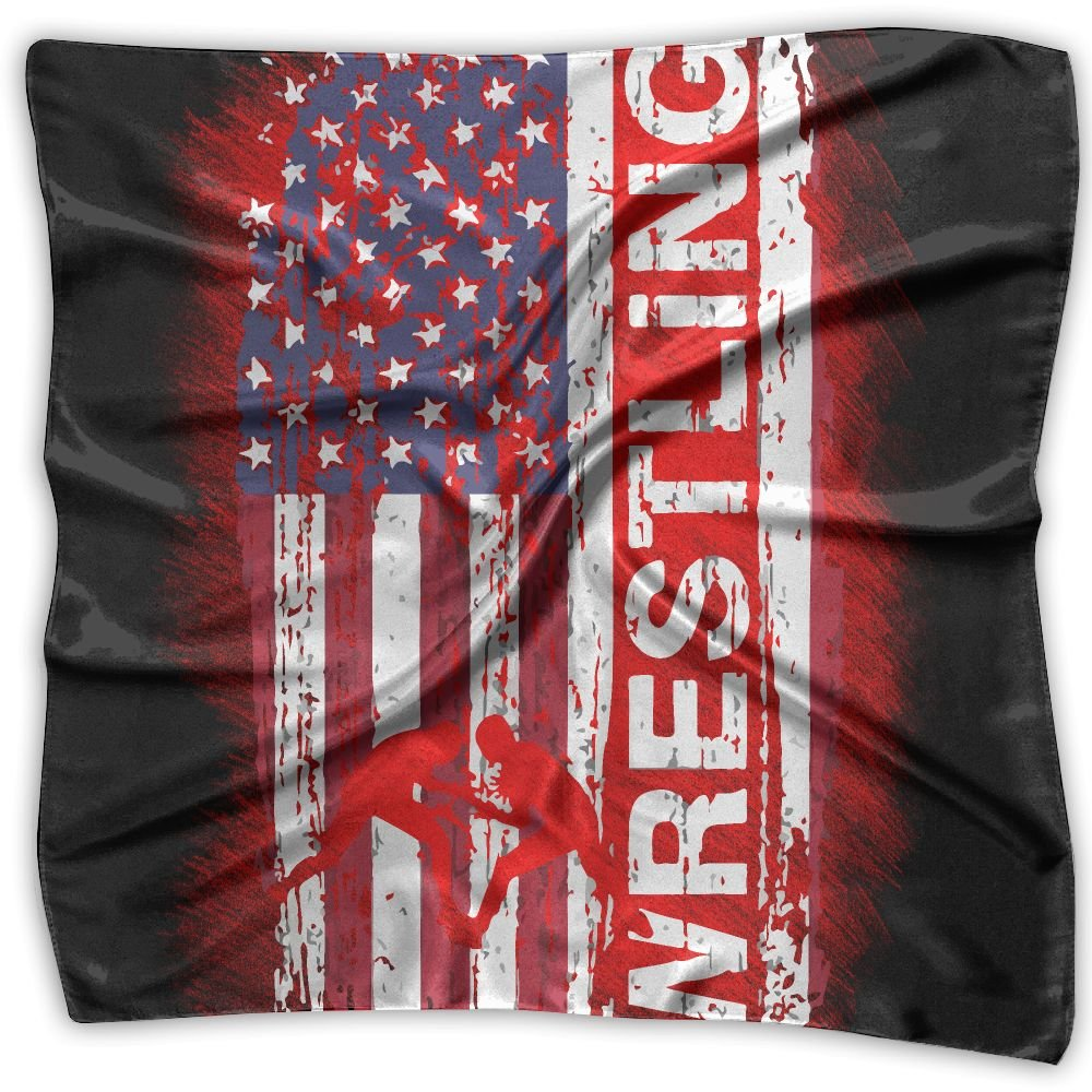 Wrestling American Flag Distress Women's Fashion Print Square Scarf Neckerchief Headdress S