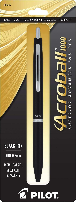 PILOT Acroball 1000 Ultra-Premium Refillable & Retractable Ball Point Pen, Black Barrel, Fine Point, Black Ink, Single Pen (13635)