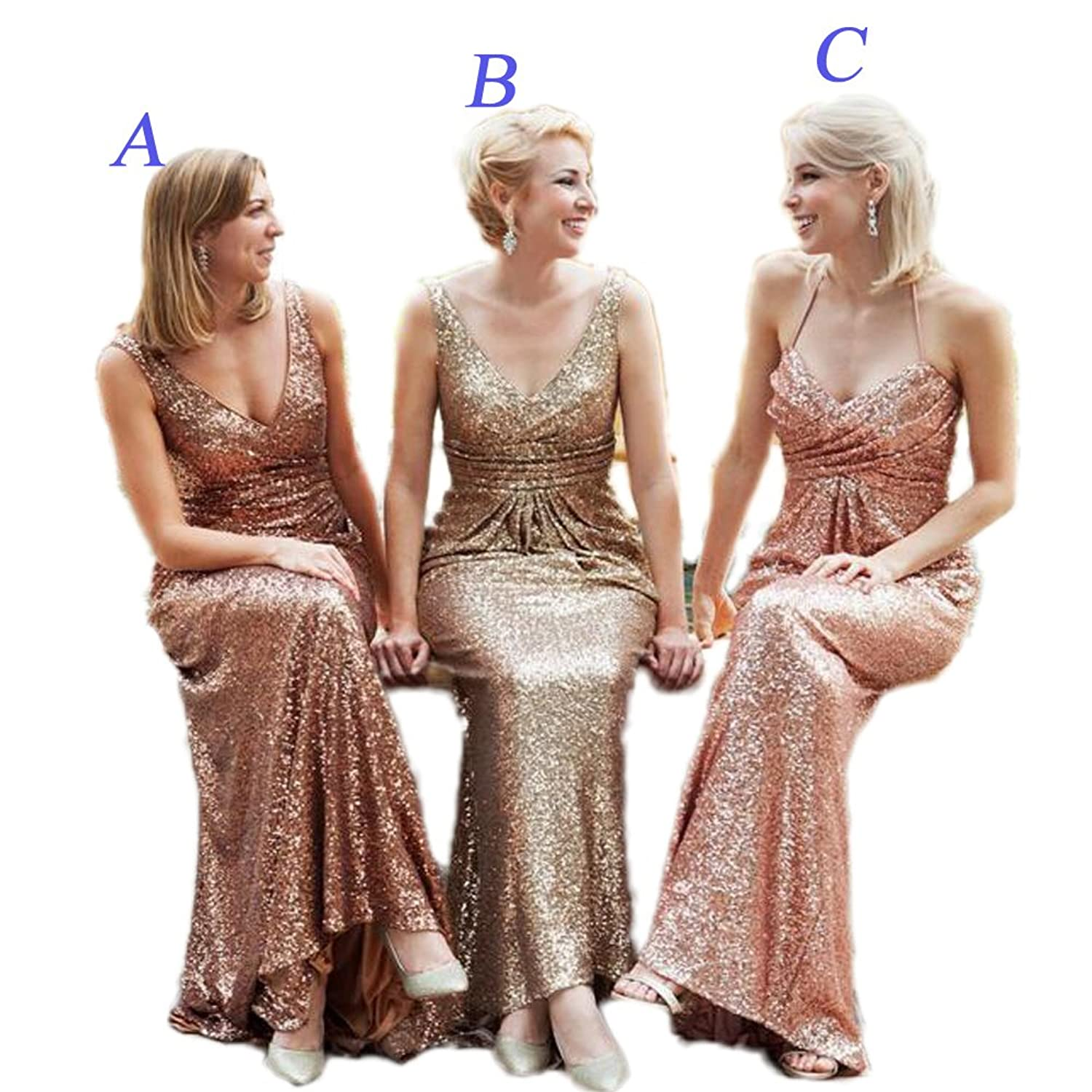 CoCogirls Straps V-Neck Rose Gold Sequins Bridesmaid Dresses Prom Party Gown