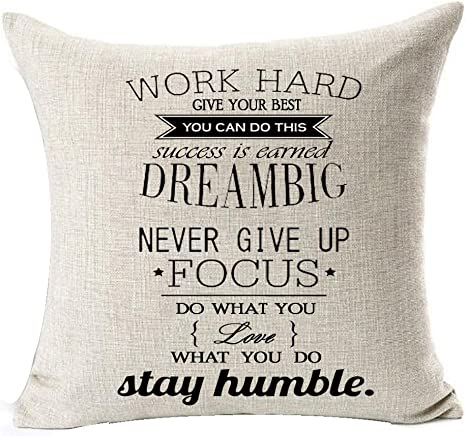 Amazon Com Encouraging Words Work Hard Dream Big Focus Never Give Up Cotton Linen Square Throw Waist Pillow Case Decorative Cushion Cover Pillowcase Sofa 20 X 20 Home Kitchen