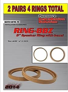 Audiopipe 2 Pair 8 inch MDF Wood Speaker Ring Recess with Bezel Fiber Glass Molds