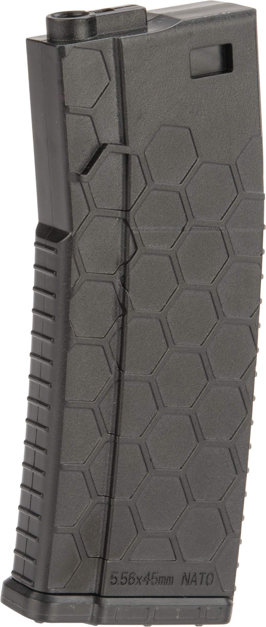 Evike Hexmag ECO Airsoft 120rds Polymer Mid-Cap Magazine for M4 / M16 Series Airsoft AEG Rifles(Color: Black/Single) by Evike