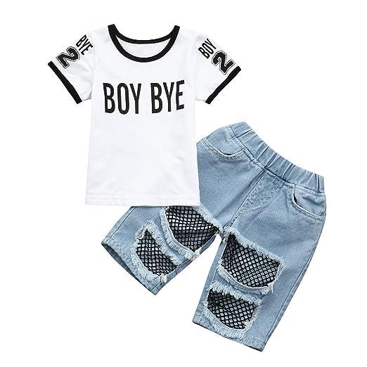 ca15700f1 Hatop 2PCS Toddler Baby Girls BOY Bye Letter Print T Shirt Tops Denim Pants  Outfits Set